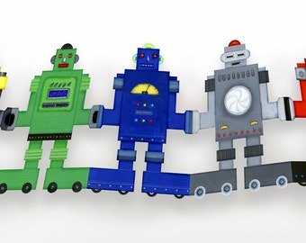 Delightful Paper Doll Chains - Colorful retro robots garlands decoration kids room girls boys birthday party ornament bunting