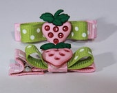 Pink Strawberry Glitter Hair Clips Set of Two