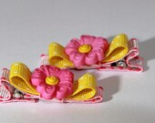 Pink and Yellow Flower Clip Set of Two