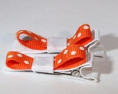 Orange and White (GO VOLS) Hair Clips Set of Two