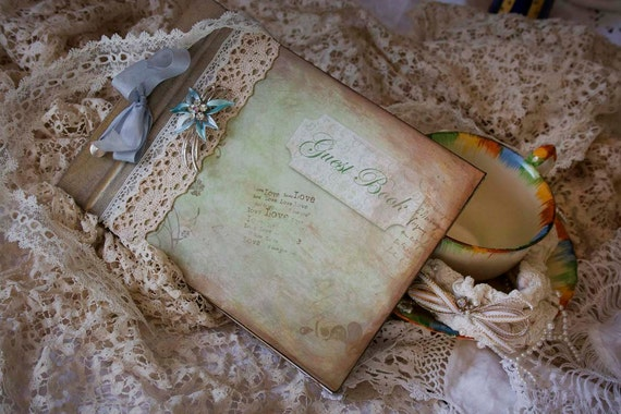 Guest book for wedding - vintage shabby chic - custom