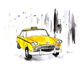 New York Taxi - Watercolor Painting - Original Art Print - Wall Art