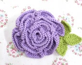hand crocheted applique large purple rose flower with leaves - 1 pc ref. F024