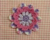 hand crocheted flower applique scrapbook - 1 pc ref. F010