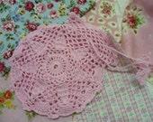 hand crocheted pink sachet bag 1 pc. gift bag purse handbag ref. SB01