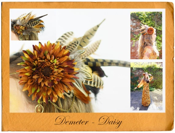 Demeter Daisy - Exquisite Couture Hair Adornment , Headdress, Hair Accessories , Headband , Hat , Fascinator , Headpiece, Hairpiece