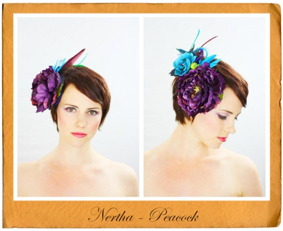 Nertha Peacock - Exquisite Hair Adornments, Hat , Fascinator , Headpiece , Headband , Couture , Headdress
