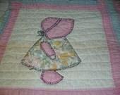 VINTAGE ..Pink Bonnet Girl Quilt Squares