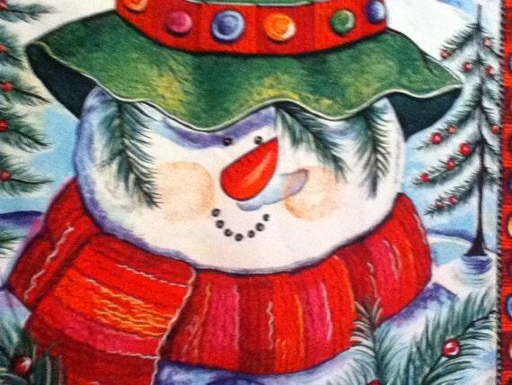 SALE... Christmas Snowman Panel