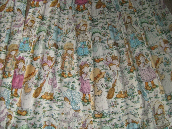 Vintage HOLLY HOBBIE Fabric Material Curtains Drape