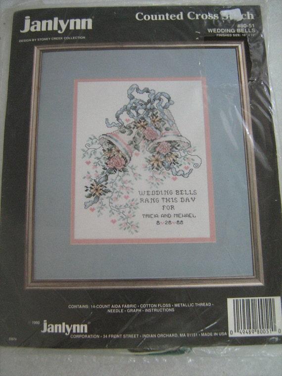 cross stitch,  wedding bell kit,  pattern yarn, JANLYNN