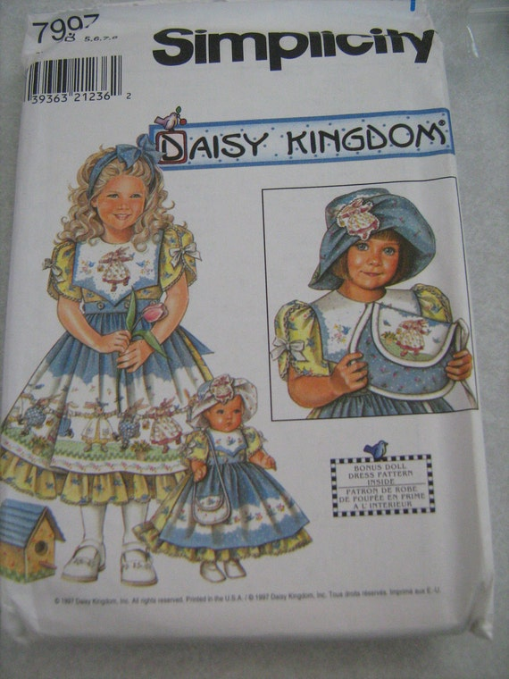 "SIMPLICITY,  DAISY KINGDOM dress,  hat, purse and 18"" doll clothes  ,child, girl,  sewing pattern ,  size 5,6,7,8,"