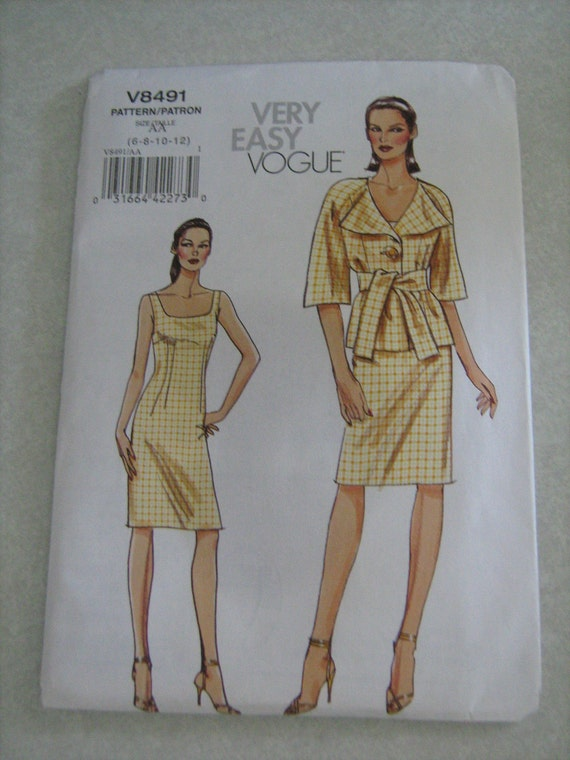 VOGUE  dress   very easy vogue , women,  sewing  pattern  size   6, 8, 10, 12 UNCUT  factory folded  V8491