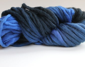 Blue/  Dark Gray  Hand Spun Hand Dyed  Thick and Thin   Super Chunky  Wool Yarn