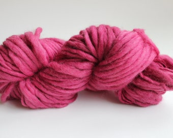 Raspberry Hand Spun Hand Dyed Thick and Thin Chunky Wool Yarn