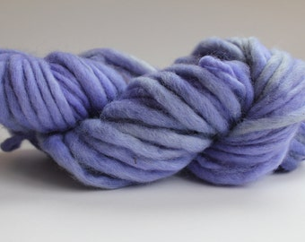 Lavender Hand Spun Hand Dyed Thick and Thin Chunky Wool Yarn