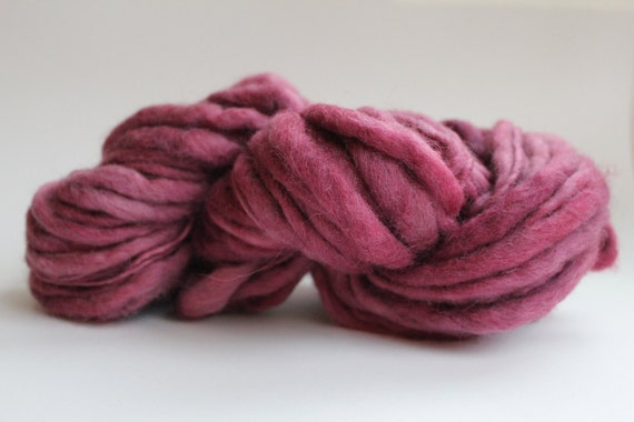 Chunky HandSpun Hand Dyed  Thick and Thin  Super Chunky  Wool Yarn Dusty Rose