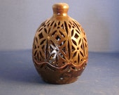 Pottery Luminary, wheel thrown, carved