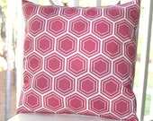 Decorative Pillow Cover - 18 x 18 Honeysuckle Honeycomb Pink Pillow Cover. Geometric Pillow- Throw Pillow