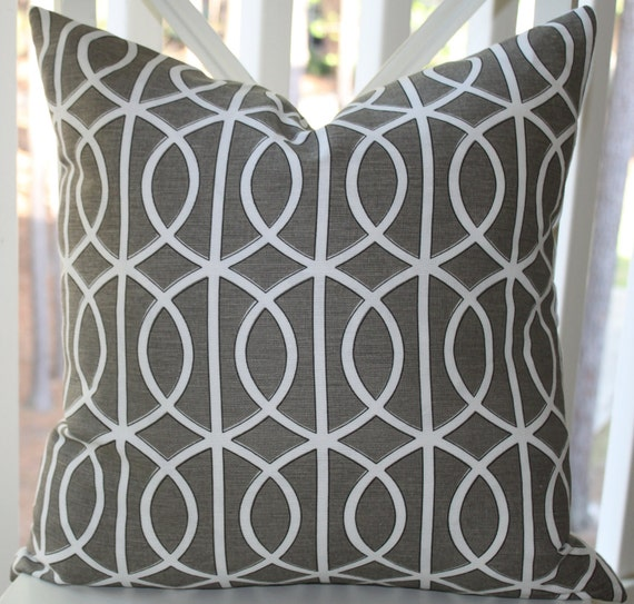 Decorative Pillow Cover - 18x18 Dwell Studio Bella Porte Charcoal Grey Scroll Pillow Cover- Throw Pillow