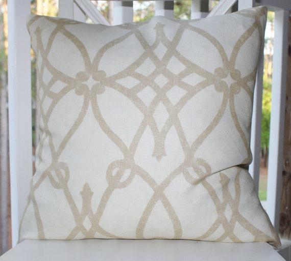 Decorative Designer Pillow - Ivory Beige Linen Scroll Geometric Trellis 12 x 16 Cover - Braemore Throw Pillow