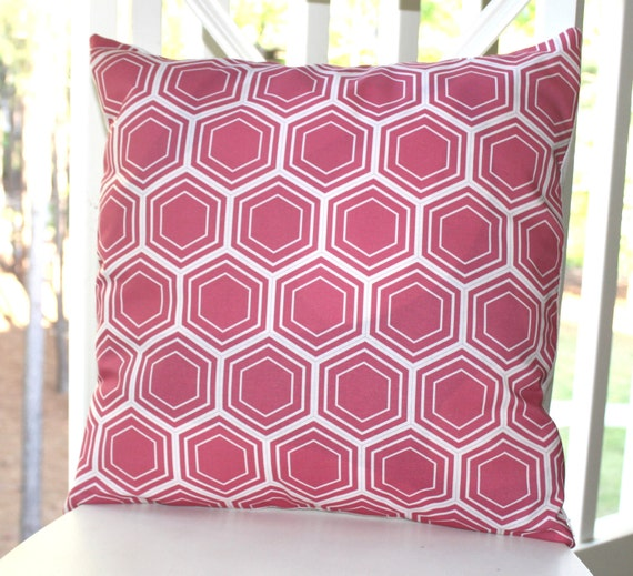 Decorative Pillow Cover - 18 x 18 Honeysuckle Honeycomb Pink and White Geometric Pillow- Throw Pillow