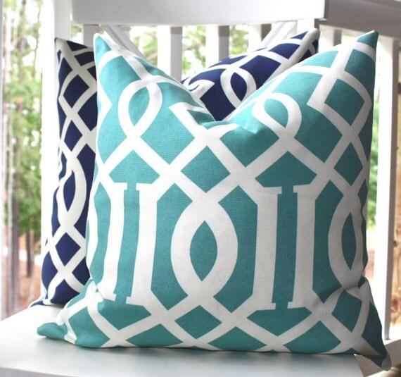 Decorative Pillow Aqua Trellis Teal Blue Cover 20 x 20 - Indoor Outdoor Throw Pillow