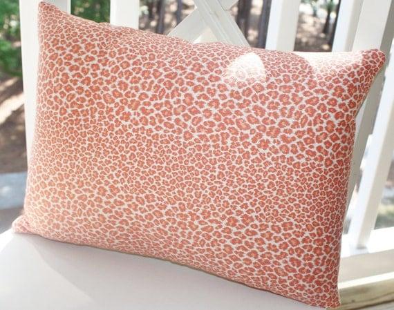 Decorative Pillow Cover - 12x18 Coral Leopard Lumbar Pillow Cover- Animal Print Throw Pillow - LAST PILLOW