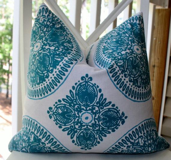 Decorative Pillow Cover - 20 x 20 Teal Aqua White Geometric Pillow Cover- Throw Pillow