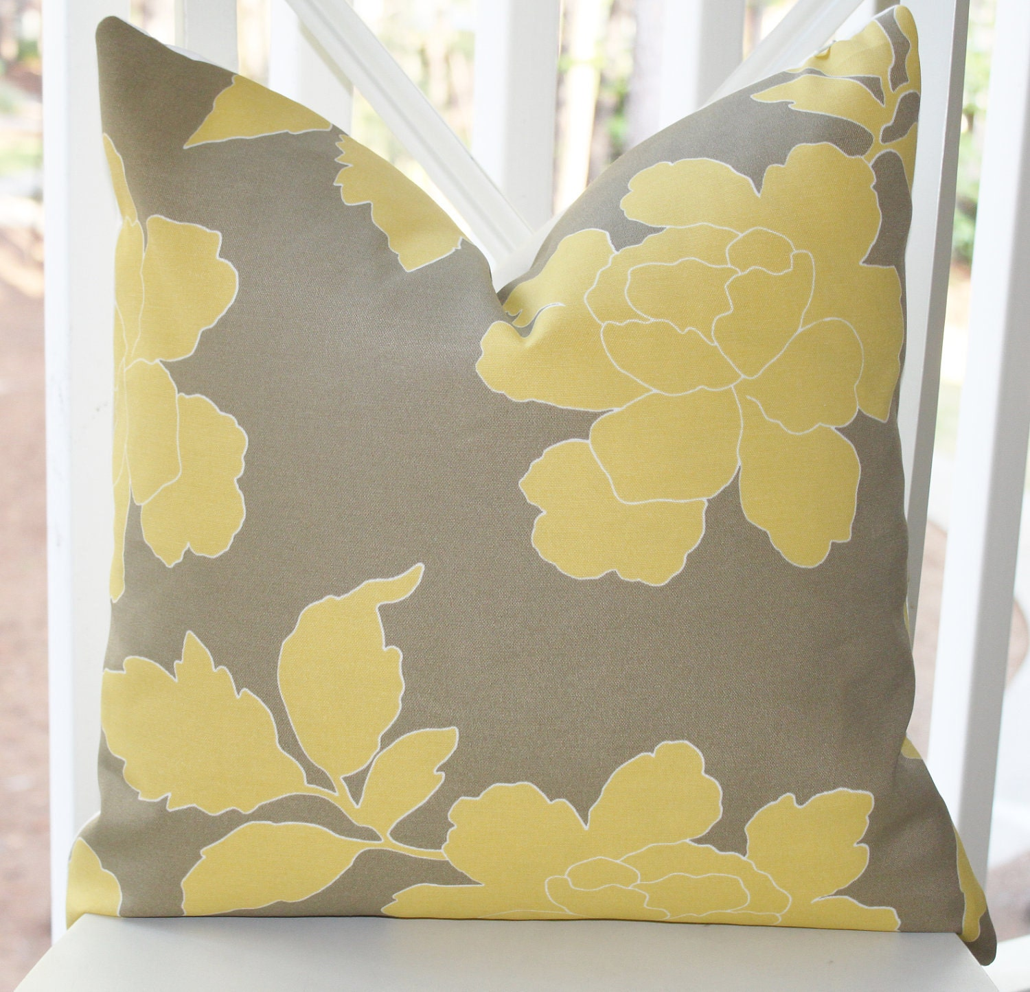 Yellow And Grey Throw Pillow Covers : Decorative Pillow Cover Yellow Grey Dwell Studio Pillow Cover