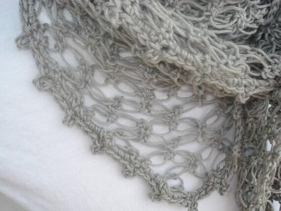 Silver Summer Scarf/shawl - Silver or light gray Fine Cotton Crocheted Summer Scarf or shawl