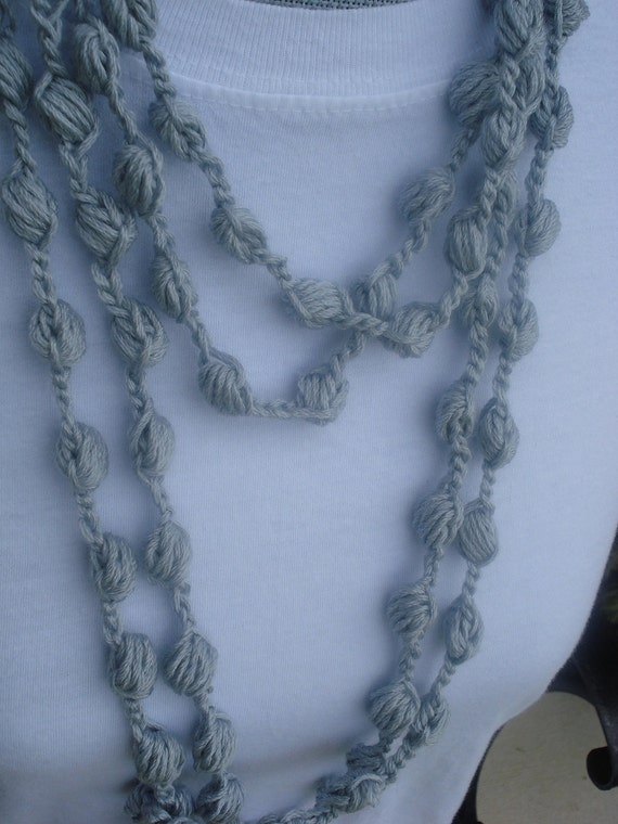 Crocheted Infinity skinny scarf Silver - Crocheted Bubbles Silver extra long infinity scarf or necklace