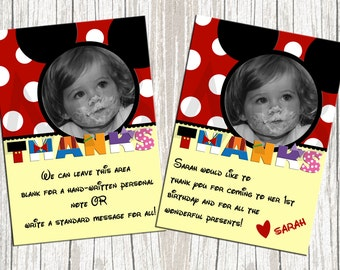 Mickey Mouse Photo Birthday Thank You Cards
