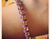 Rhinestone Chain and Purple Leather