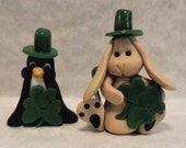 St. Patrick's Day Minatures - Penguin and Bunny