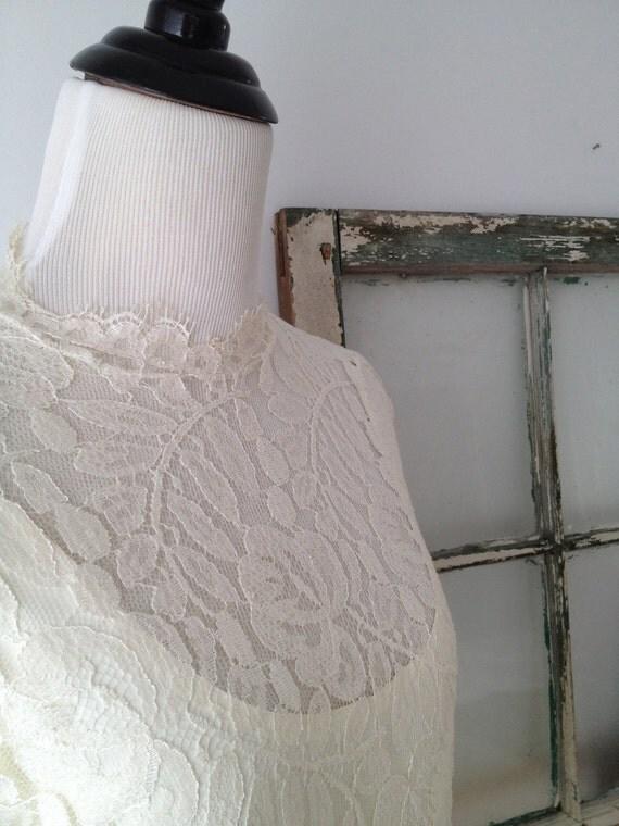 Beautiful Handmade Vintage 2-Tiered White/Cream Lace Dress