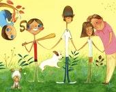 Good Sports - Framed Family Portrait Illustration