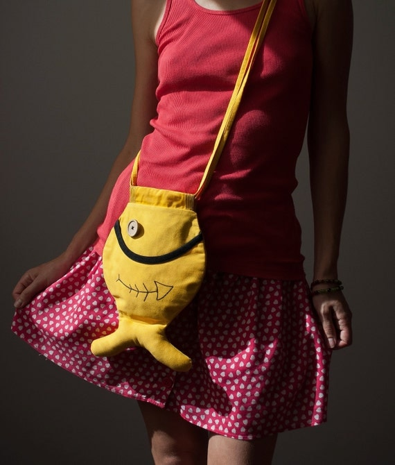 Fish Bag Purse, Unisex, Hipster Style, Boho Style, Bright Yellow Bag, Beach Accessories, Nautical, Fun, Whimsical