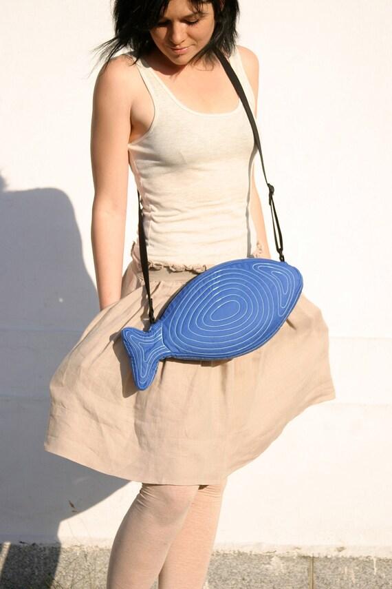 Fish Bag Fish Purse Electric Blue Bag Cross Body Bag Unisex Bag Summer Bag Cute Bag Sea Punk Hipster Kawaii Teen Bag