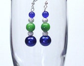Handmade Beaded Earrings in Bright Green and Bold Blue