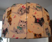 SALE Lamp shade, Pendant lamp made in Retro Style, KITTENS