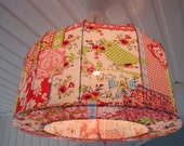 Lampshade, Pendant lamp made in shabby chic style, birds and flowers