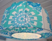 SALE Lamp shade, Pendant light Flowers in turquise Retro Style