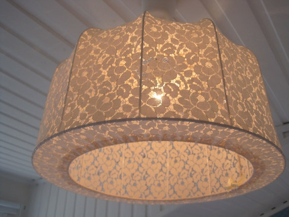 Reserved for Francesca Lampshade, Pendant lamp made in vintage lace