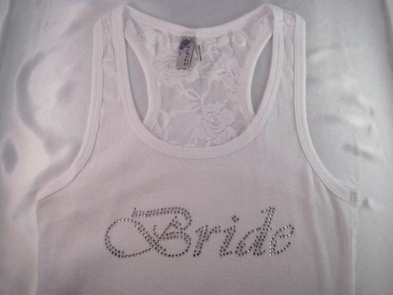 Bride Tank Top, Goergeous Rhinestone Wedding Lace Tank, Bride Gift, Presesnt, Bridesmaid Gifts, Bridesmaid Tank Tops, Bachelorette Shirts