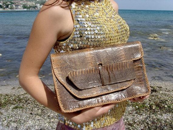 Enter VINTAGEBYCVETINKA Coupon code 10% discount Vintage Snake Skin Leather Boho Hippie Long Purse Brown Tan Beige Handbag