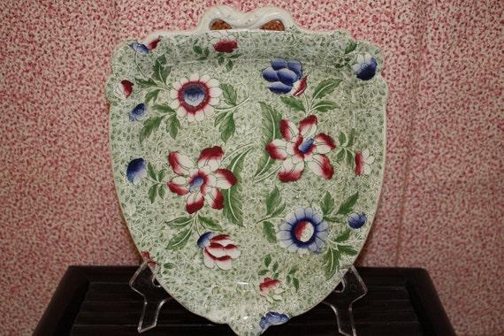 Antique Staffordshire green transferware dessert chintz shield shaped dish plate