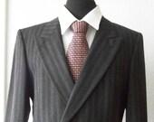 Yves Saint Lauren Mens Double Breasted Dark Grey Stripped Wool Suit