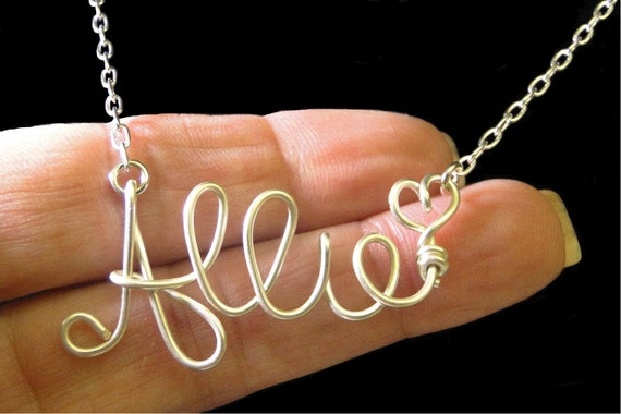Personalized Sterling Silver Wire Name Necklace, Personalized Name, Custom Name Necklace
