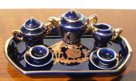 SALE Limoges Miniature Tea Set Cobalt Blue and Gold Porcelaine Artistique